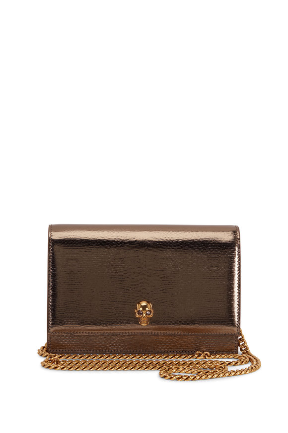 Alexander McQueen Skull Topas Lizard Embossed Leather Small Bag
