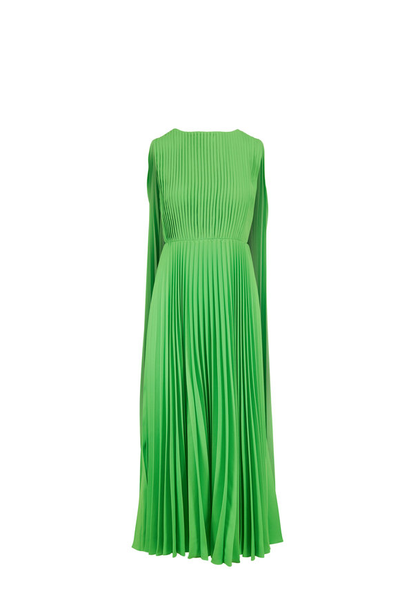 Valentino Lime Green Plissé Midi Cape Dress