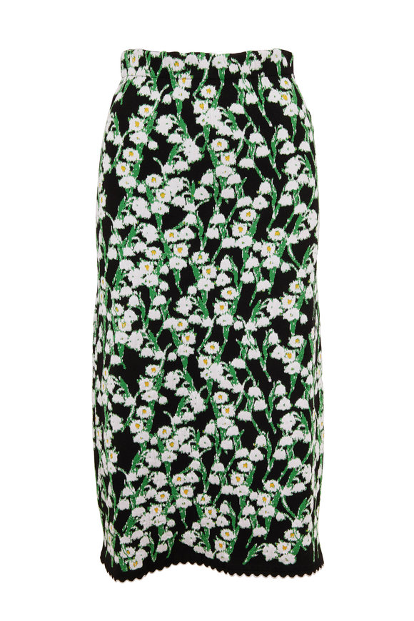 Carolina Herrera Black Multi Floral Jacquard Skirt