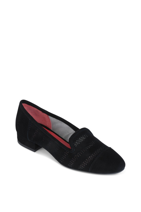 Pas de Rouge Daria Black Suede Mesh Striped Cap-Toe Loafer