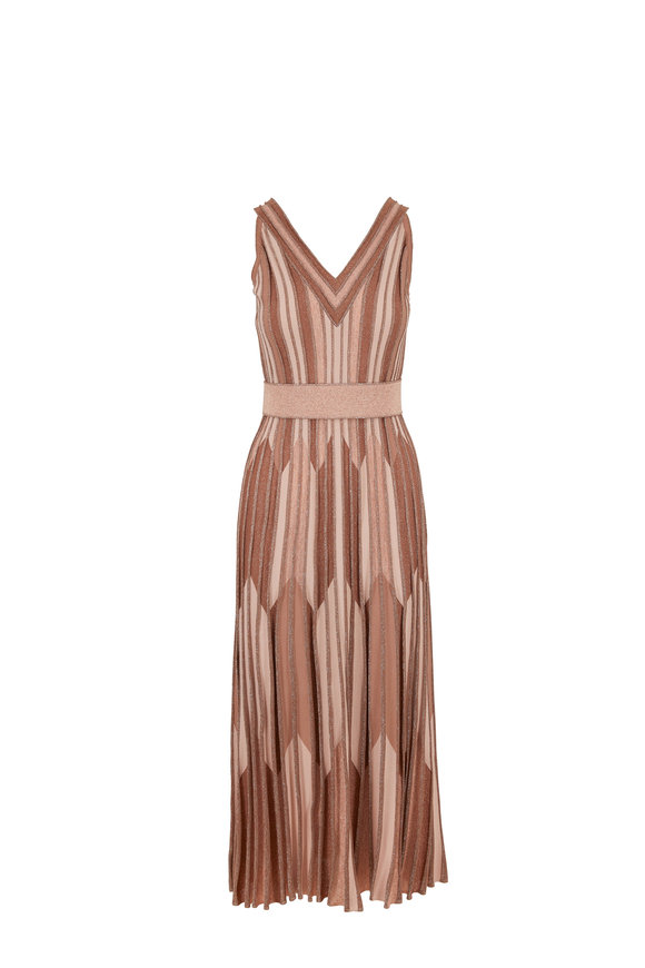 D.Exterior Taupe Metallic Chevron Jacquard Maxi Dress