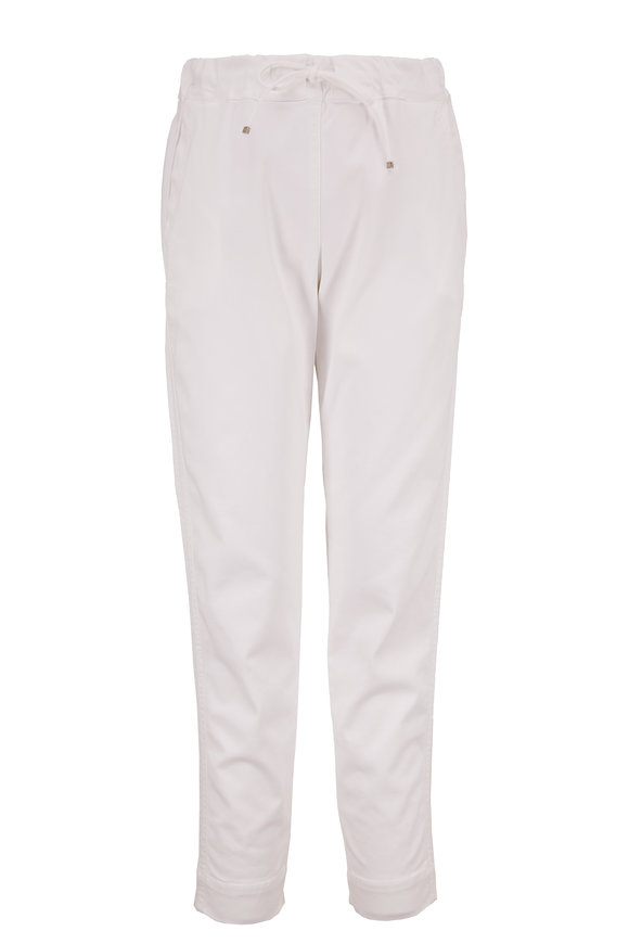 D.Exterior White Stretch Cotton Drawstring Pull-On Pant