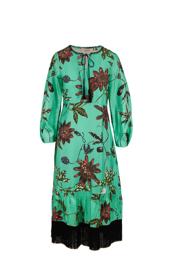 Dorothee Schumacher Aloe Powerful Flora Silk Long Sleeve Dress