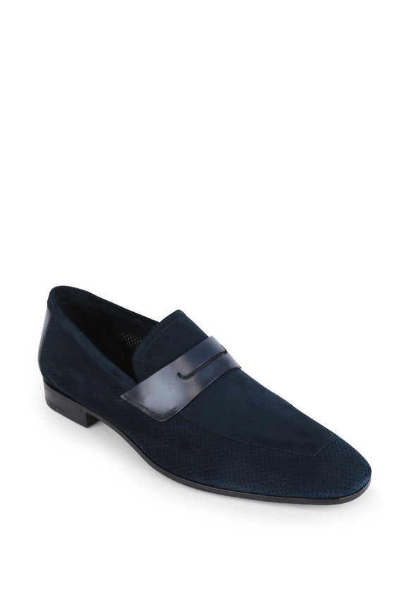 Berluti Rimini Navy Blue Perforated Suede Loafer