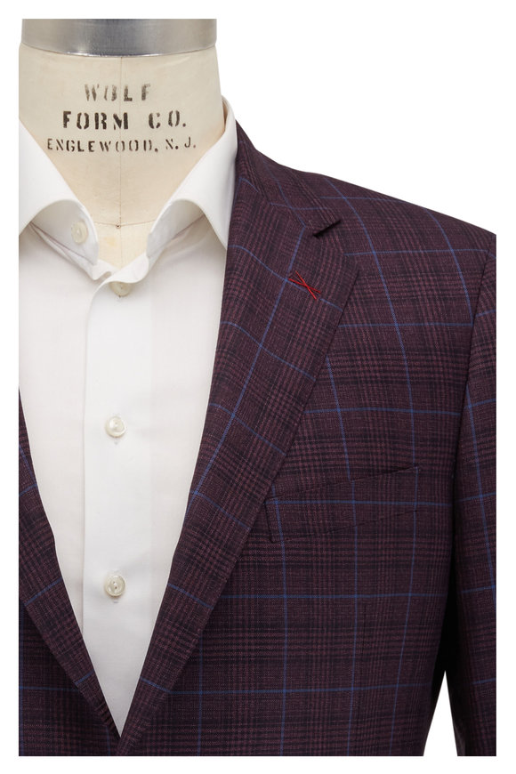 Samuelsohn Wine & Blue Plaid Wool Sportcoat