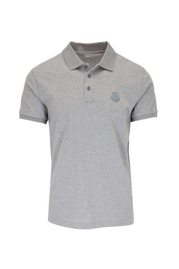 Moncler Heather Gray Logo Polo