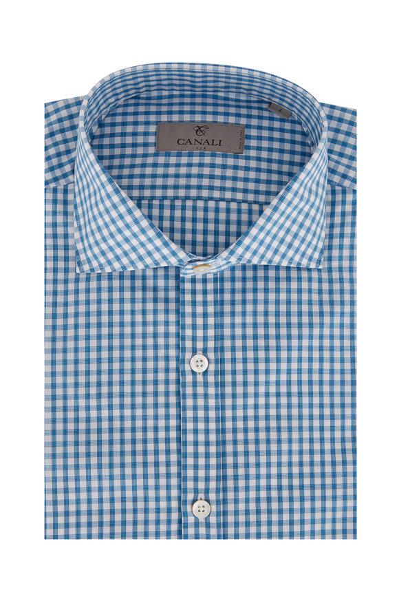 Canali Teal Tattersall Sport Shirt