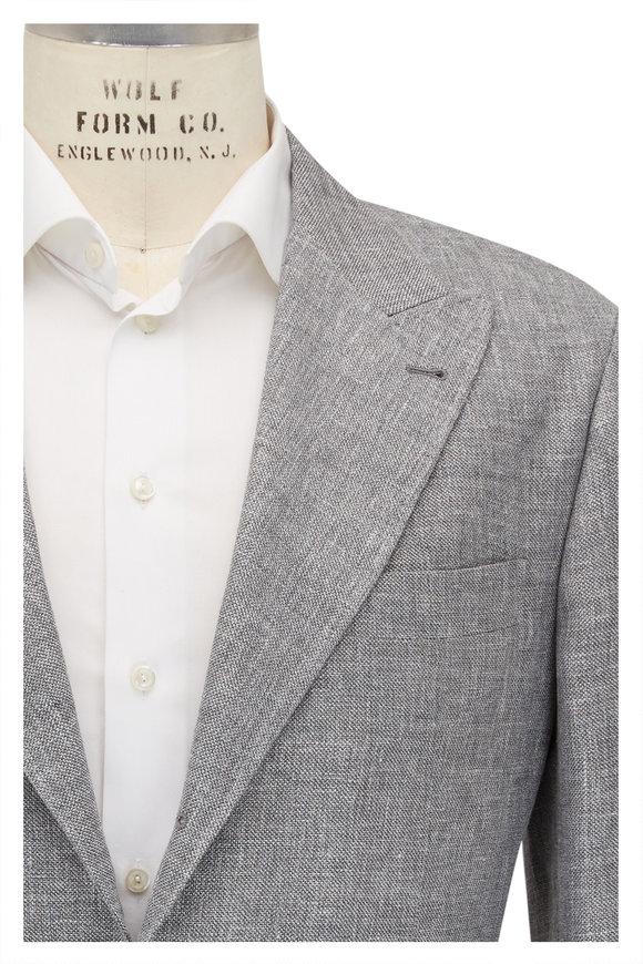 Brunello Cucinelli Gray Hopsack Linen, Wool & Silk Sportcoat
