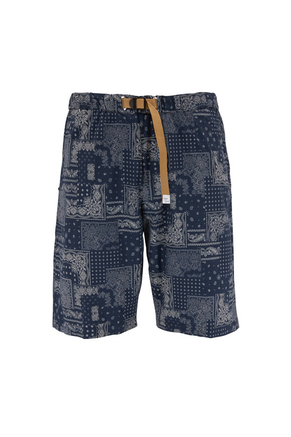 White Sands Navy Bandanna Print Belted Shorts
