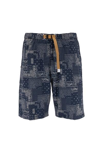 White Sands - Navy Bandanna Print Belted Shorts