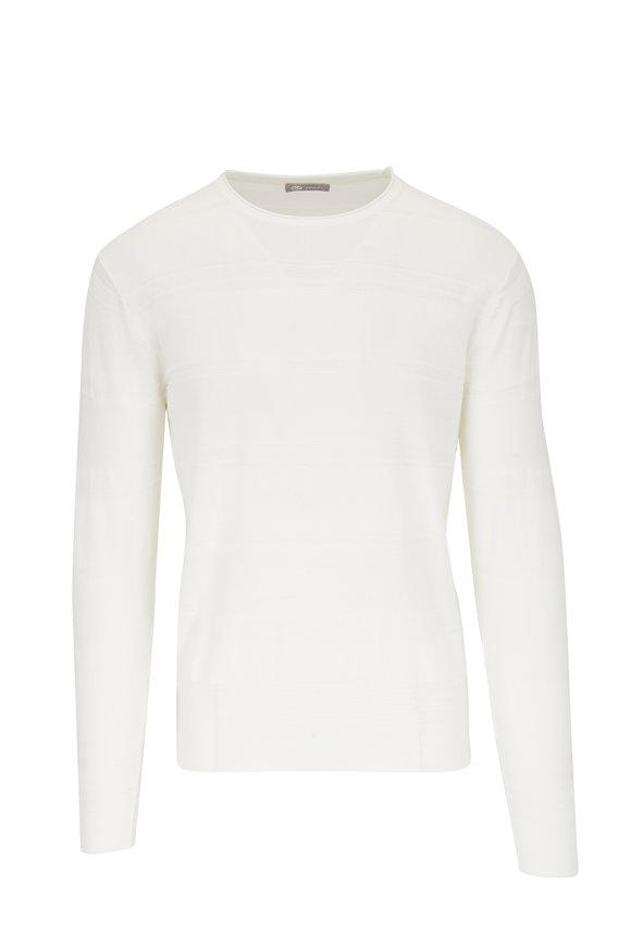 Fradi White Cotton Tonal Stripe Crewneck Pullover
