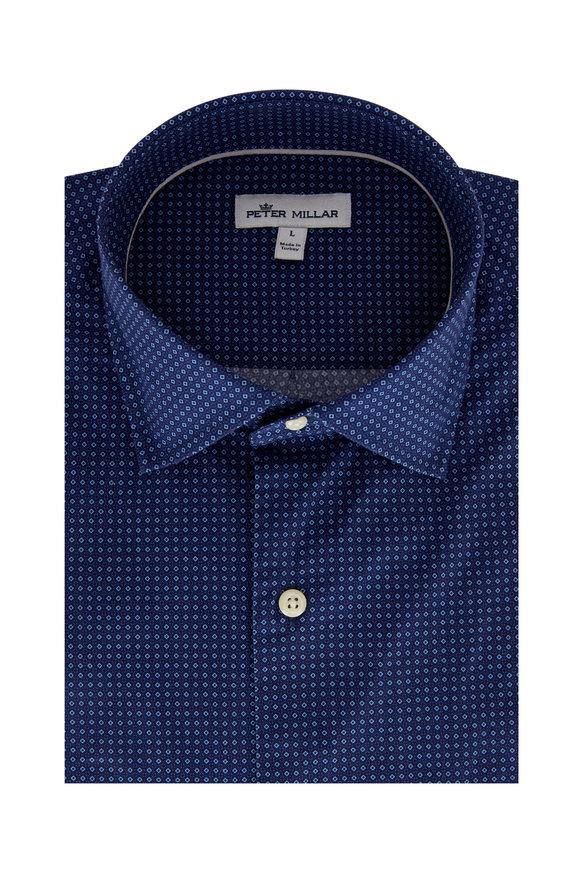 Peter Millar Block Island Blue Geometric Print Sport Shirt