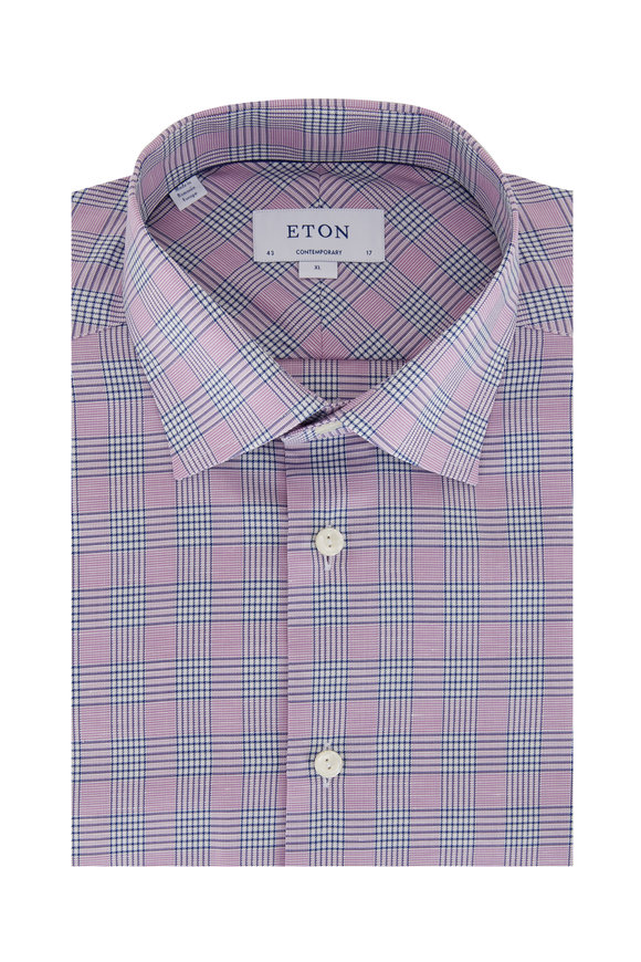 Eton Lavender & Blue Plaid Cotton & Linen Sport Shirt