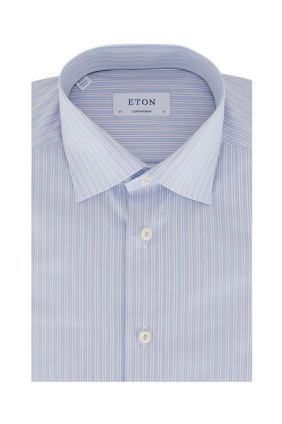 Eton Blue & Purple Striped Contemporary Fit Dress Shirt