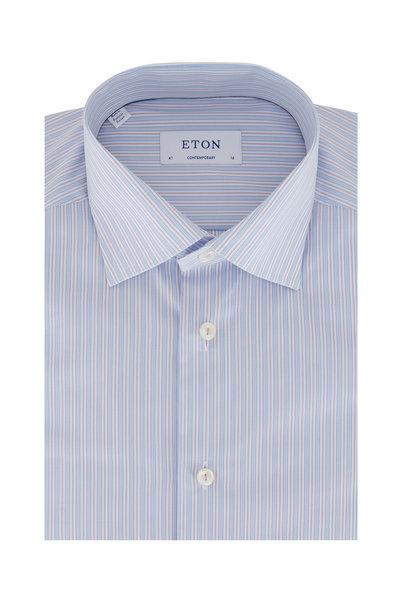 Eton - Blue & Purple Striped Contemporary Fit Dress Shirt