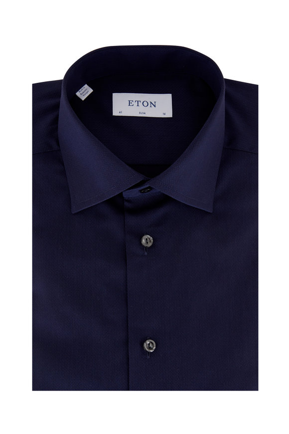 Eton Navy Blue Herringbone Slim Fit Dress Shirt