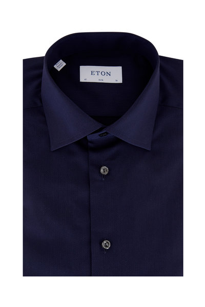 Eton - Navy Blue Herringbone Slim Fit Dress Shirt