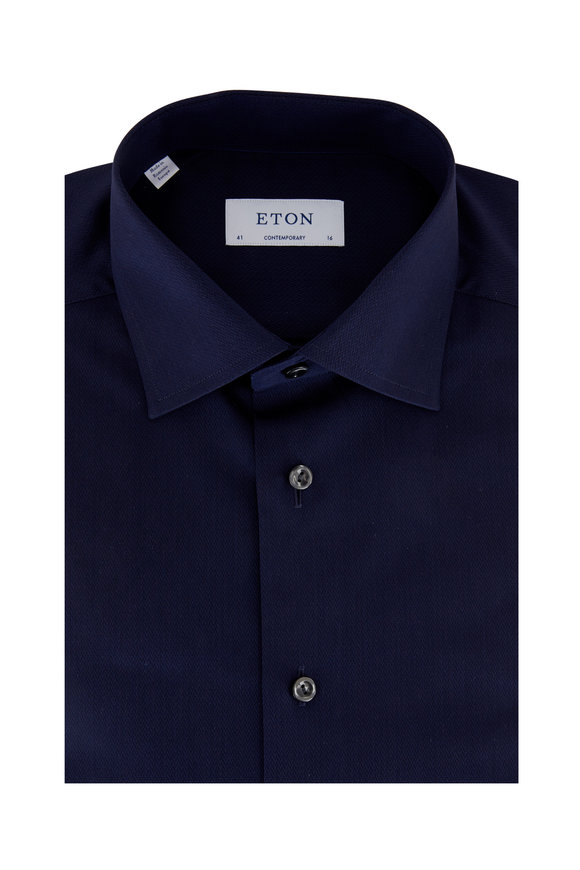 Eton Navy Blue Herringbone Contemporary Fit Dress Shirt