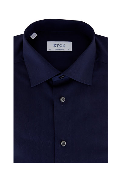 Eton - Navy Blue Herringbone Contemporary Fit Dress Shirt