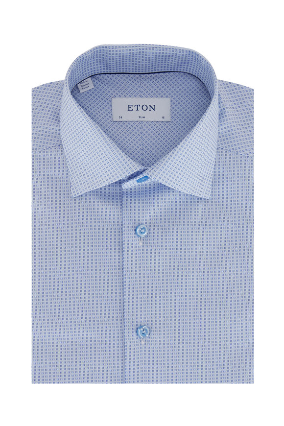Eton Light Blue Geometric Brocade Slim Fit Dress Shirt