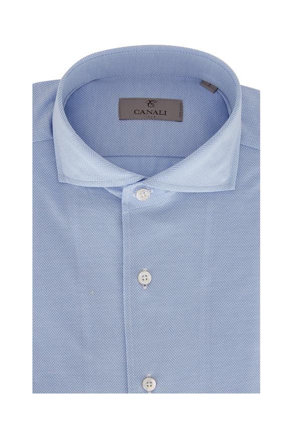 Canali Light Blue Herringbone Dress Shirt