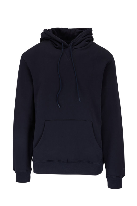 Swet Tailor Navy Blue Stretch Cotton Hoodie
