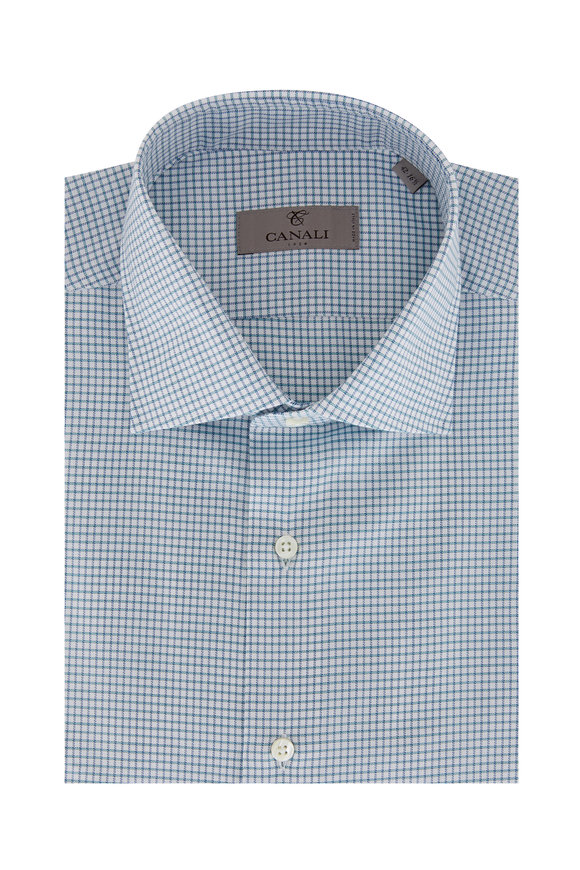 Canali Teal Tattersall Dress Shirt