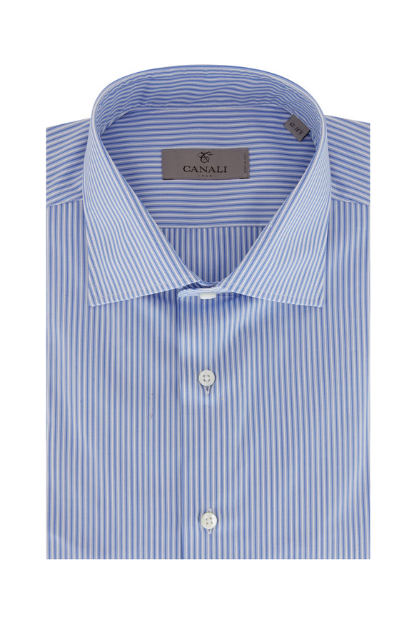 Canali Light Blue Striped Dress Shirt