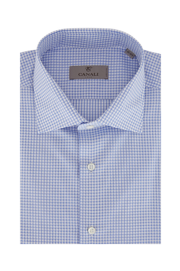 Canali Light Blue Check Dress Shirt