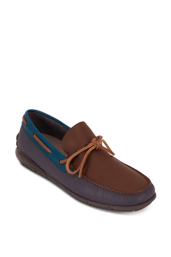 Salvatore Ferragamo Simeon Brown & Asphalt Leather Boat Shoe