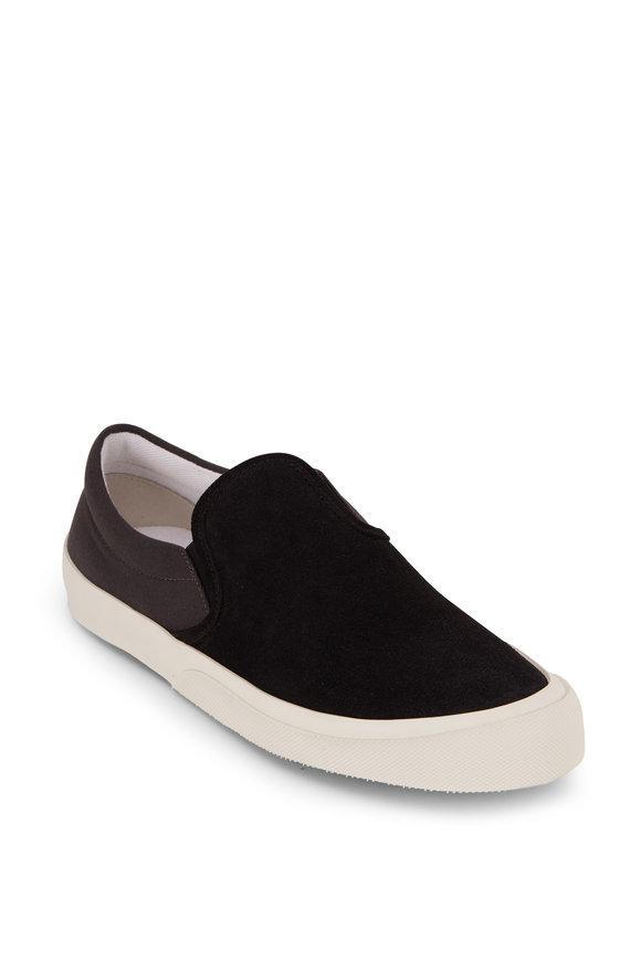 Maison Margiela Black Suede & Canvas Slip-On Sneaker