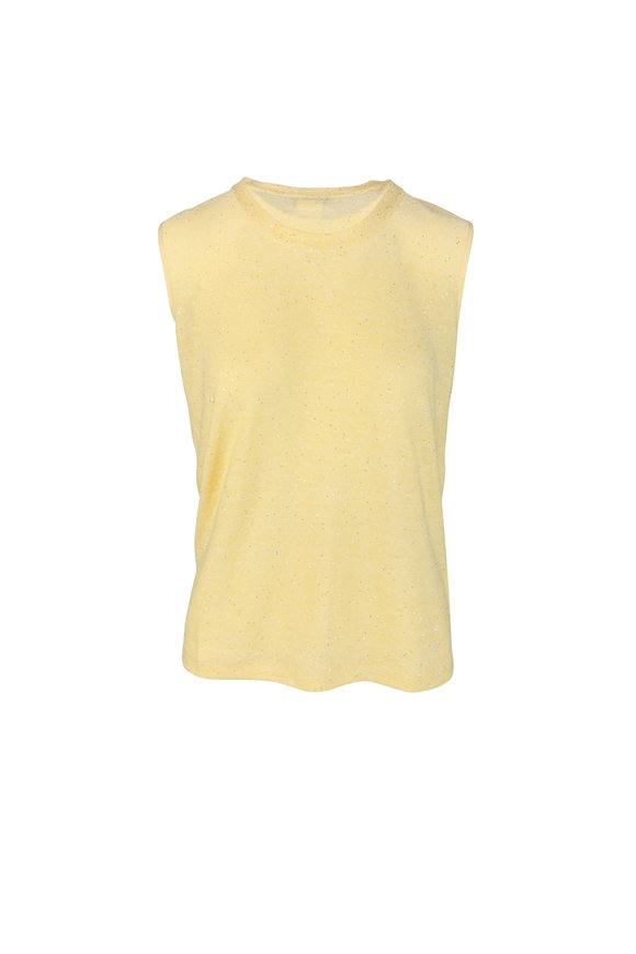 Akris Yellow Linen Blend Sequin Top