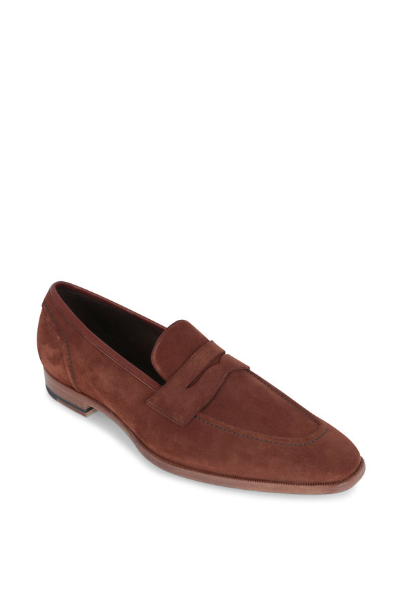Gaziano & Girling Capri Light Brown Suede Penny Loafer