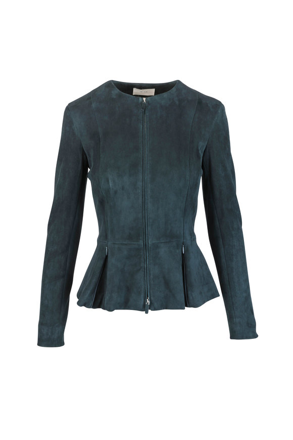 The Row Hunter Green Suede Peplum Hem Jacket