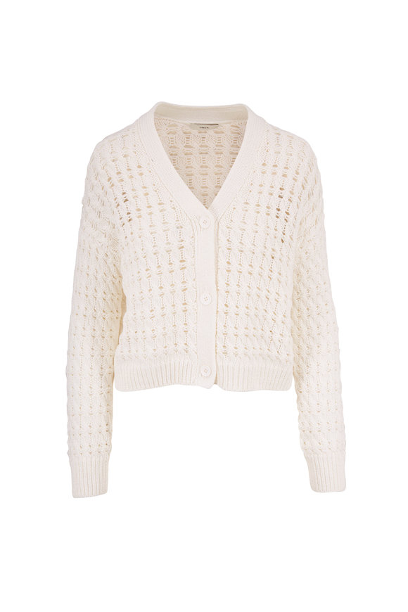 Vince Optic White Open Cable Knit Cardigan