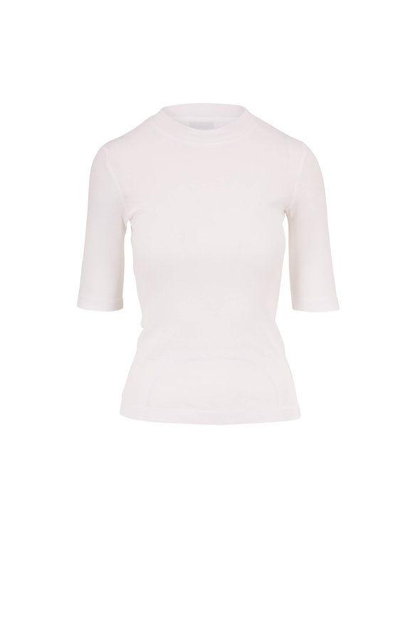 Rosetta Getty White Cotton Crop Sleeve T-Shirt