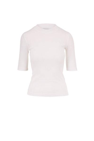 Rosetta Getty - White Cotton Crop Sleeve T-Shirt