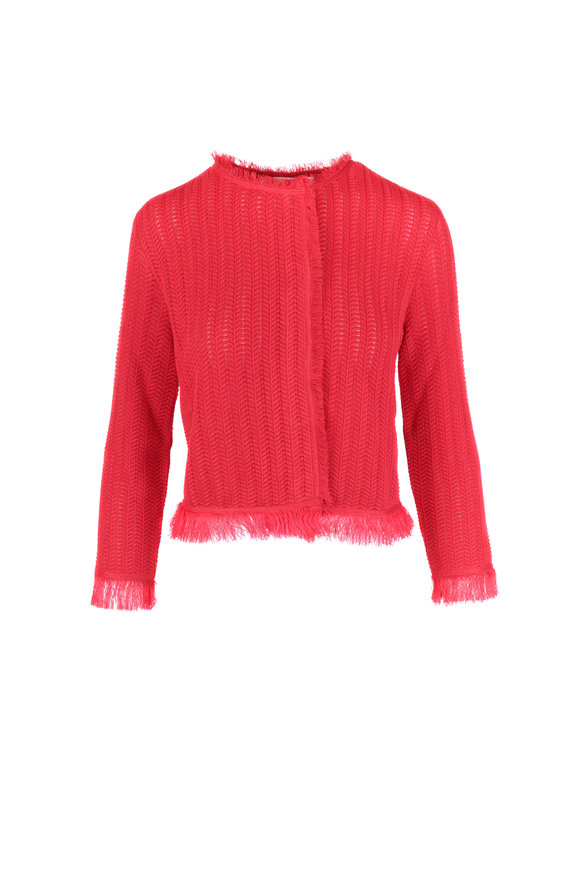 Oscar de la Renta Red Open Knit Fringe Jacket
