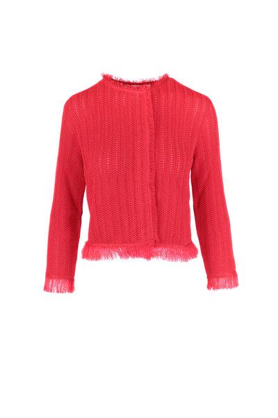Oscar de la Renta - Red Open Knit Fringe Jacket