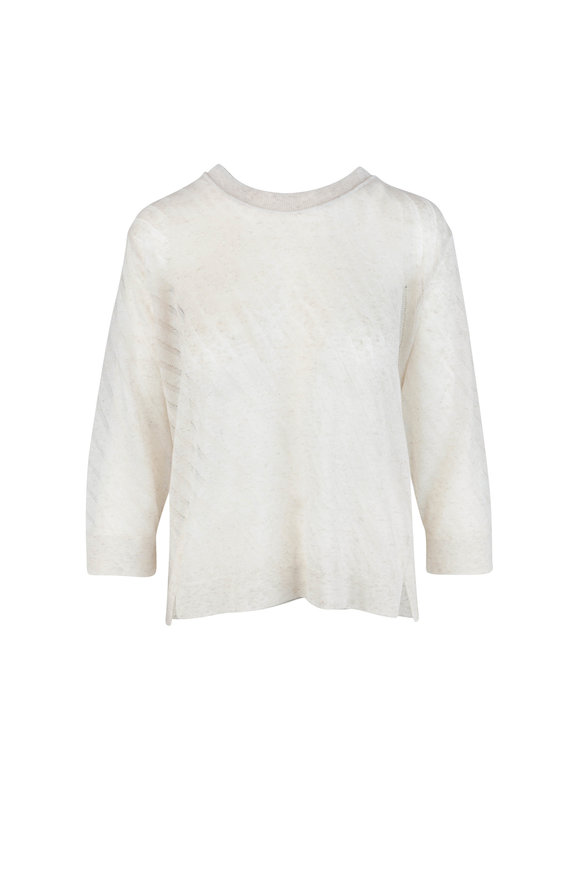 Dorothee Schumacher Sense Of Cool Cream Diagonal Stitch Top