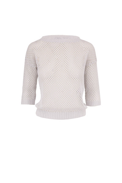 D.Exterior - White Open Knit Three-Quarter Sleeve Sweater