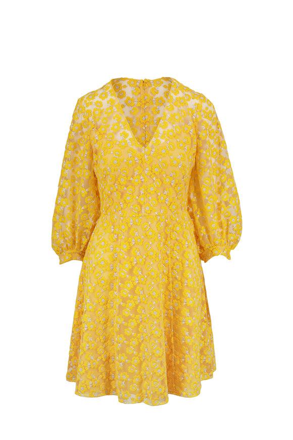 Lela Rose Marigold Floral Embroidered Full Sleeve Dress