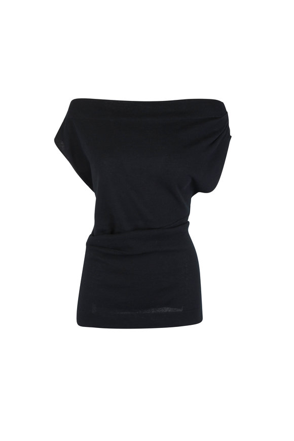 CO Collection Black Sleeveless Ruched Knit Top