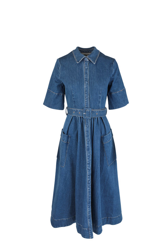 CO Collection Denim Short Sleeve Patch Pocket Shirtdress
