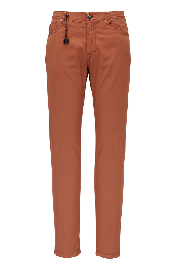 Marco Pescarolo Dusty Brick Cotton Blend Five Pocket Pant