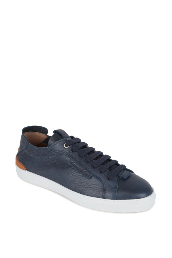 Ermenegildo Zegna Ferrara Navy Blue Leather Sneaker