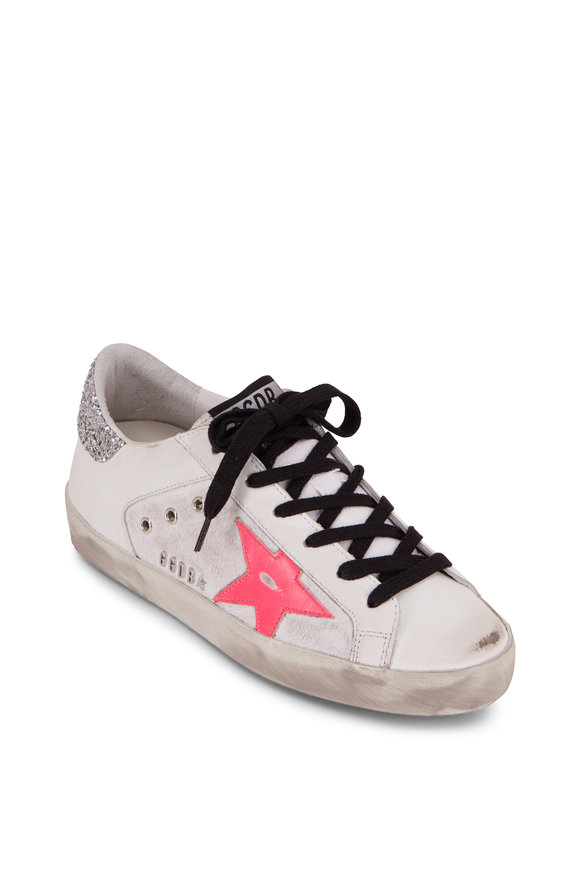 Golden Goose Superstar White Pink Star & Glitter Back Sneaker