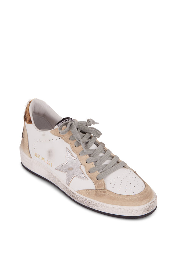 Golden Goose Ball Star Pearl Silver Star Leopard Heel Sneaker