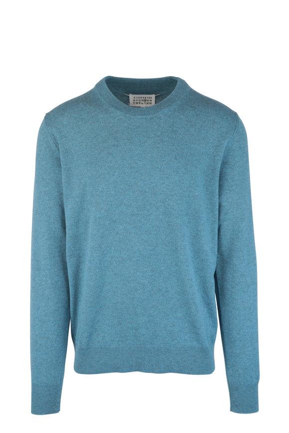Maison Margiela Teal Cashmere & Wool Crewneck Sweater