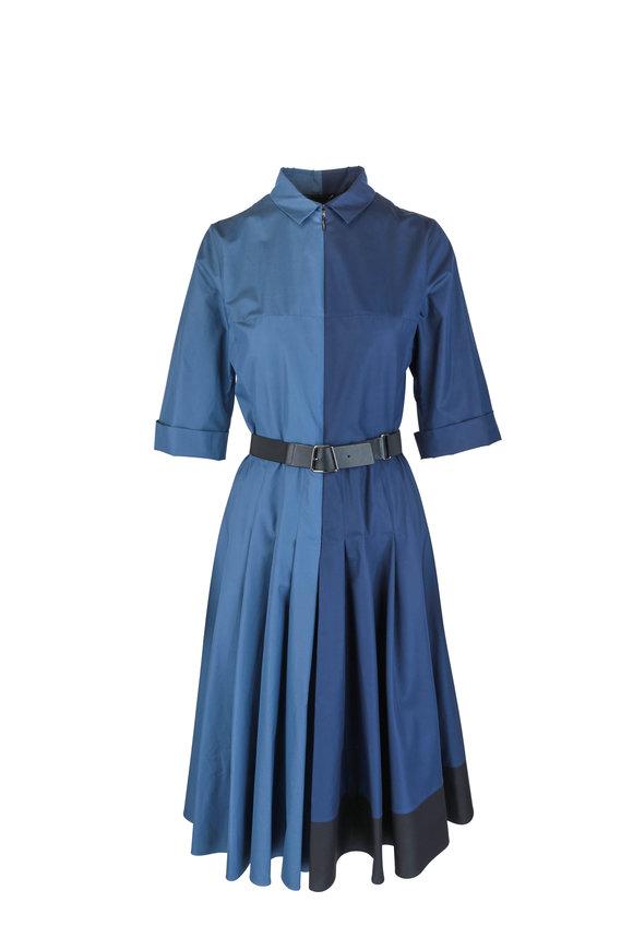 Akris Dark Blue Colorblock Long Sleeve Shirtdress